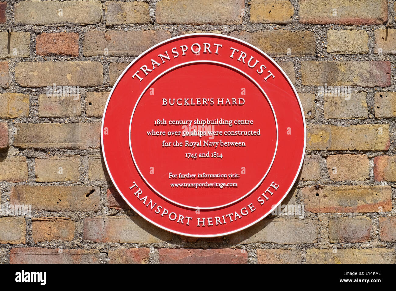 Transport Trust Plaque at Buckler's Hard historic ship building site on the Beaulieu River - Stock Image