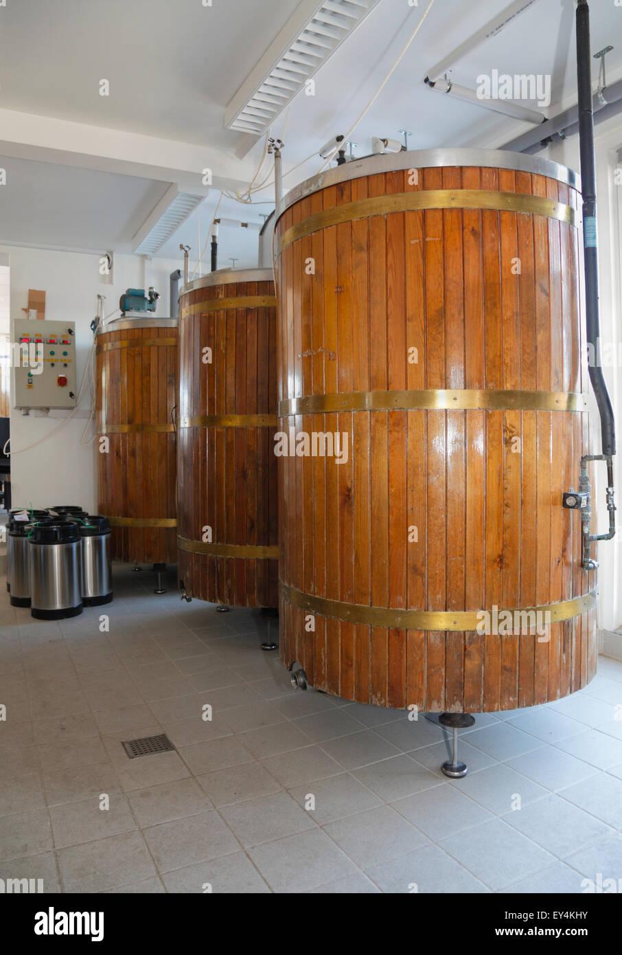 Beer barrels at Halsnæs Bryghus, a local microbrewery, Hundested Harbour, Zealand, Denmark - Stock Image