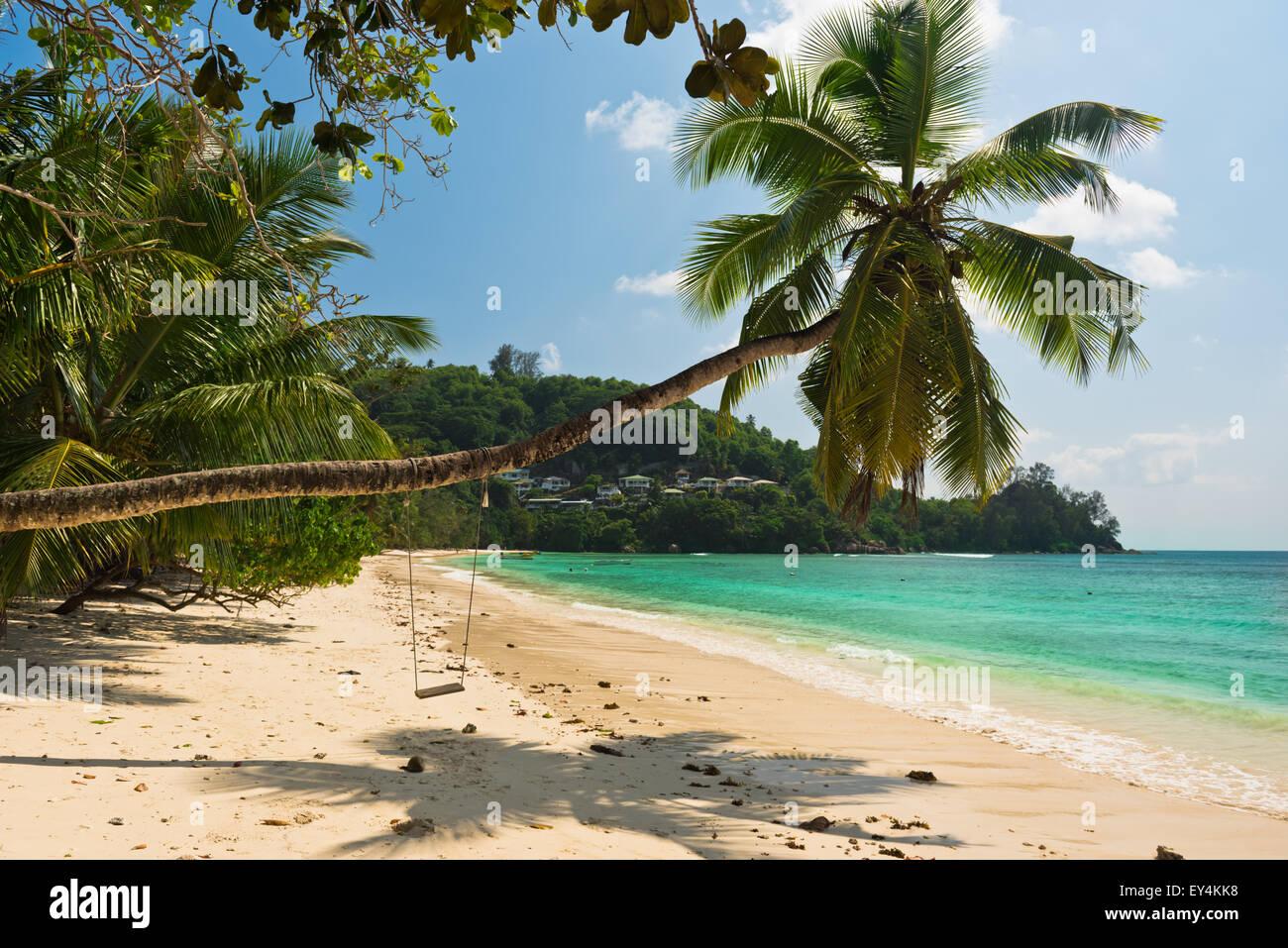 Tropical beach at Mahe island Seychelles. Horizontal shot - Stock Image