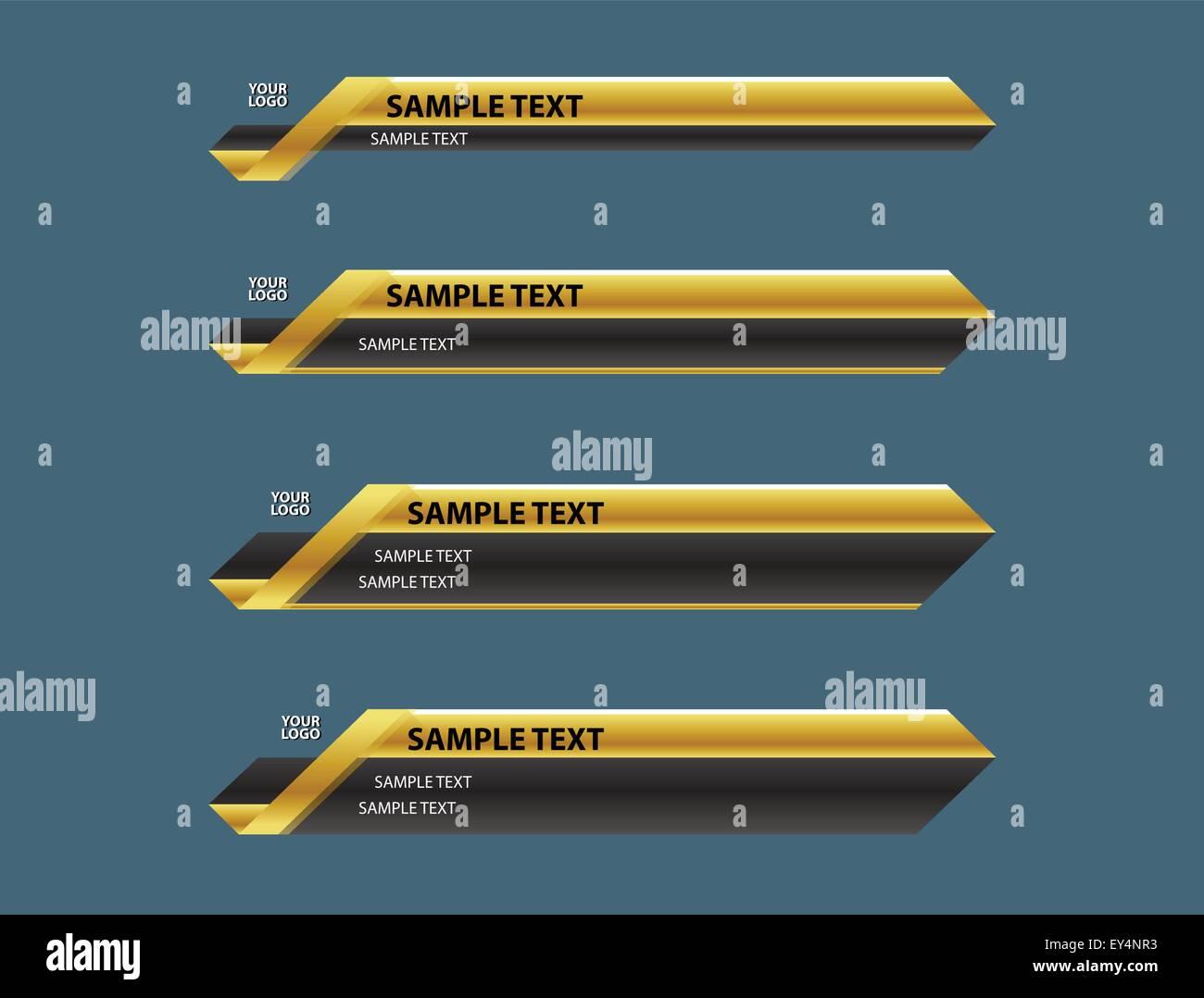 lower third banner bar name screen TV - Stock Image