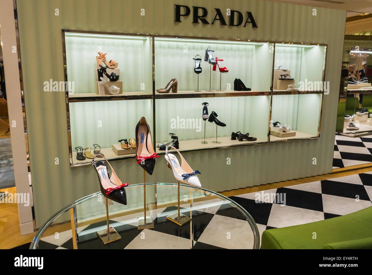Paris, France, Prada Store Women's Accessories High Heels designer Shoes, on Display, Luxury Fashion Brands Shopping Stock Photo