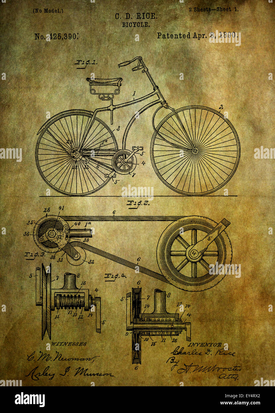 Bicycle patent from 1890 Patent Art - Fine Art Photograph Based On Original Patent Artwork Researched  And Enhanced - Stock Image