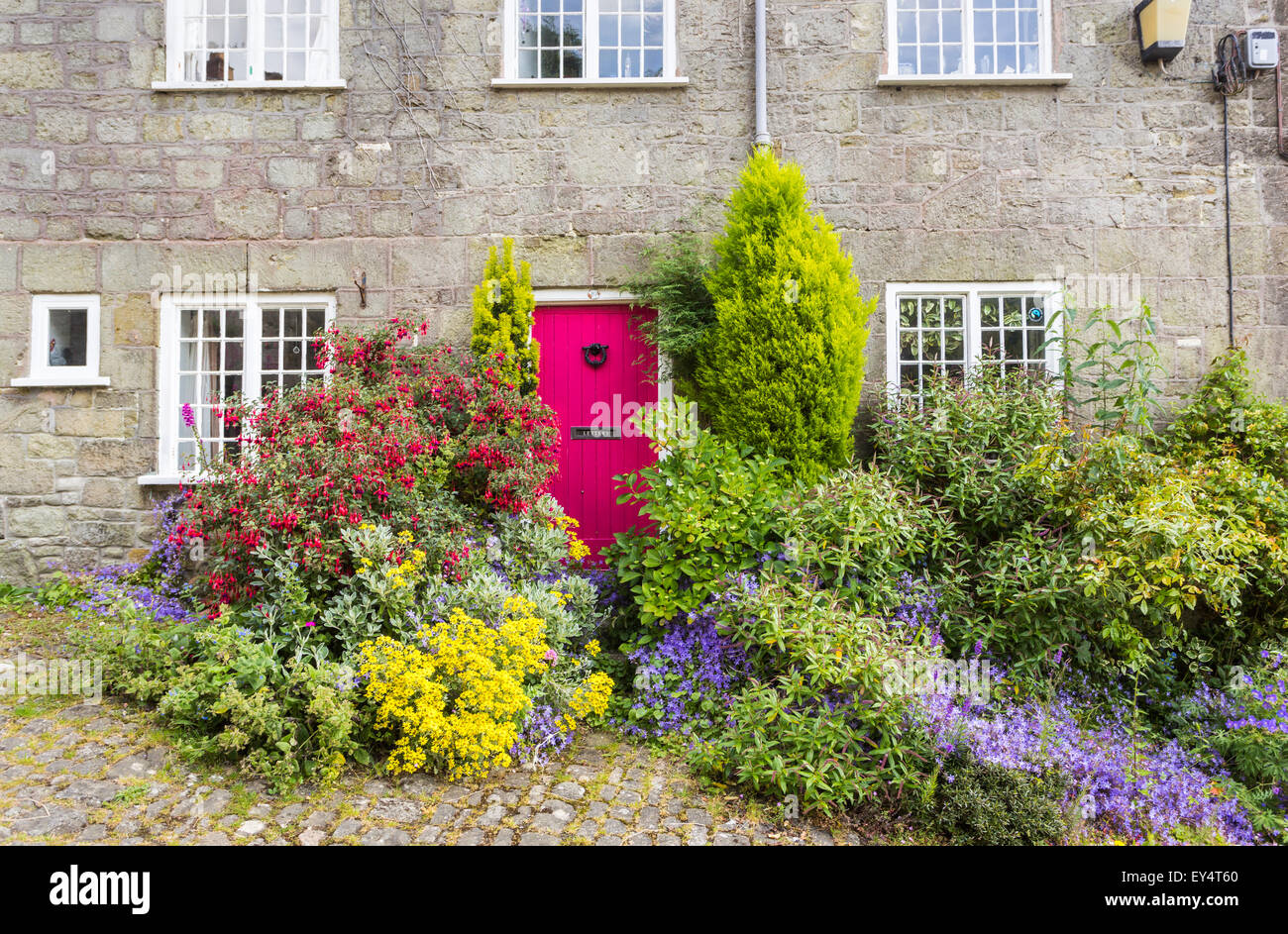 Red cottage door in a local style cottage in Gold Hill, Shaftesbury, Dorset, UK in summer, the location for the - Stock Image