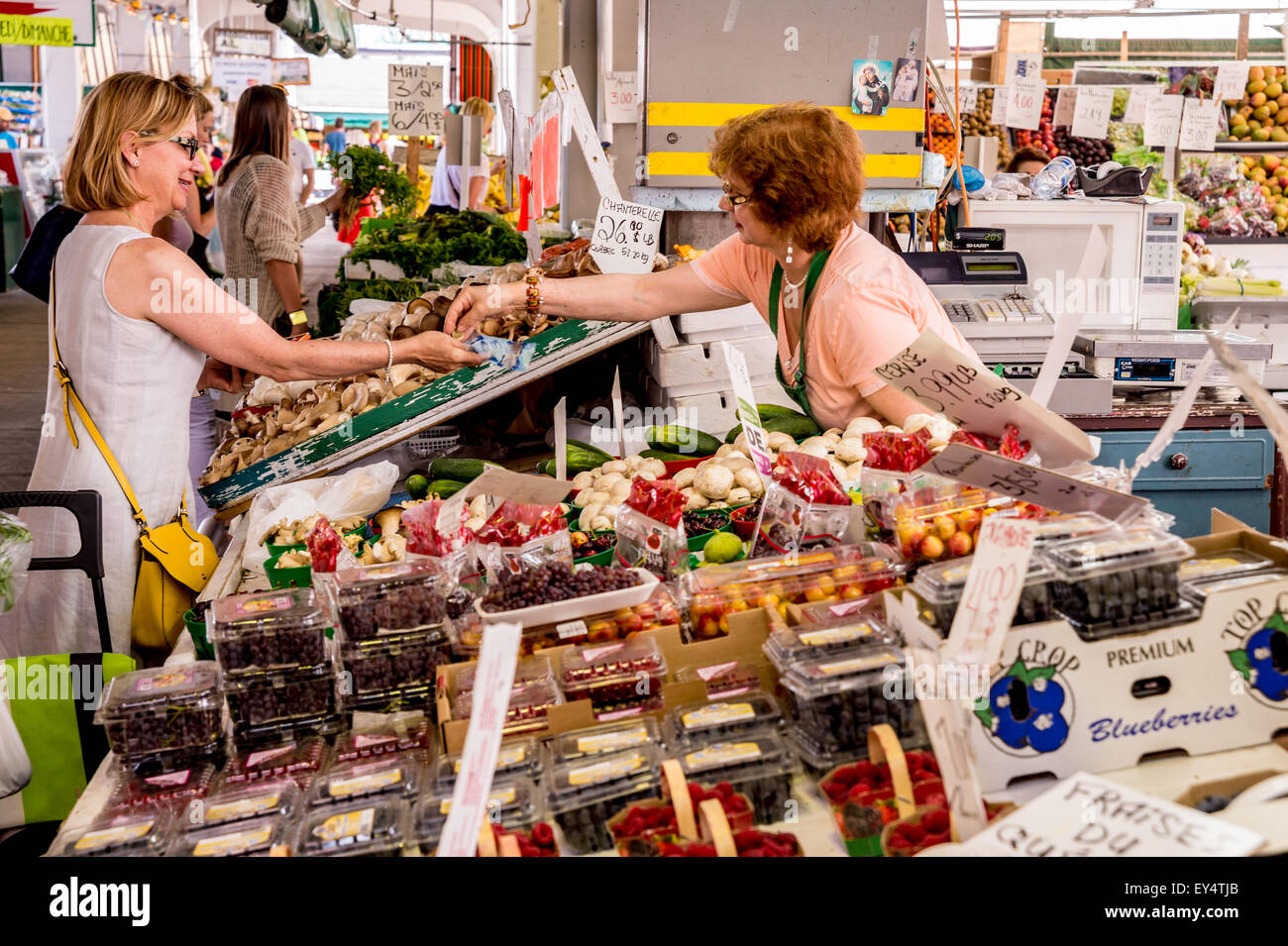Woman buys fruits at Jean Talon Market in Montreal, Canada - Stock Image