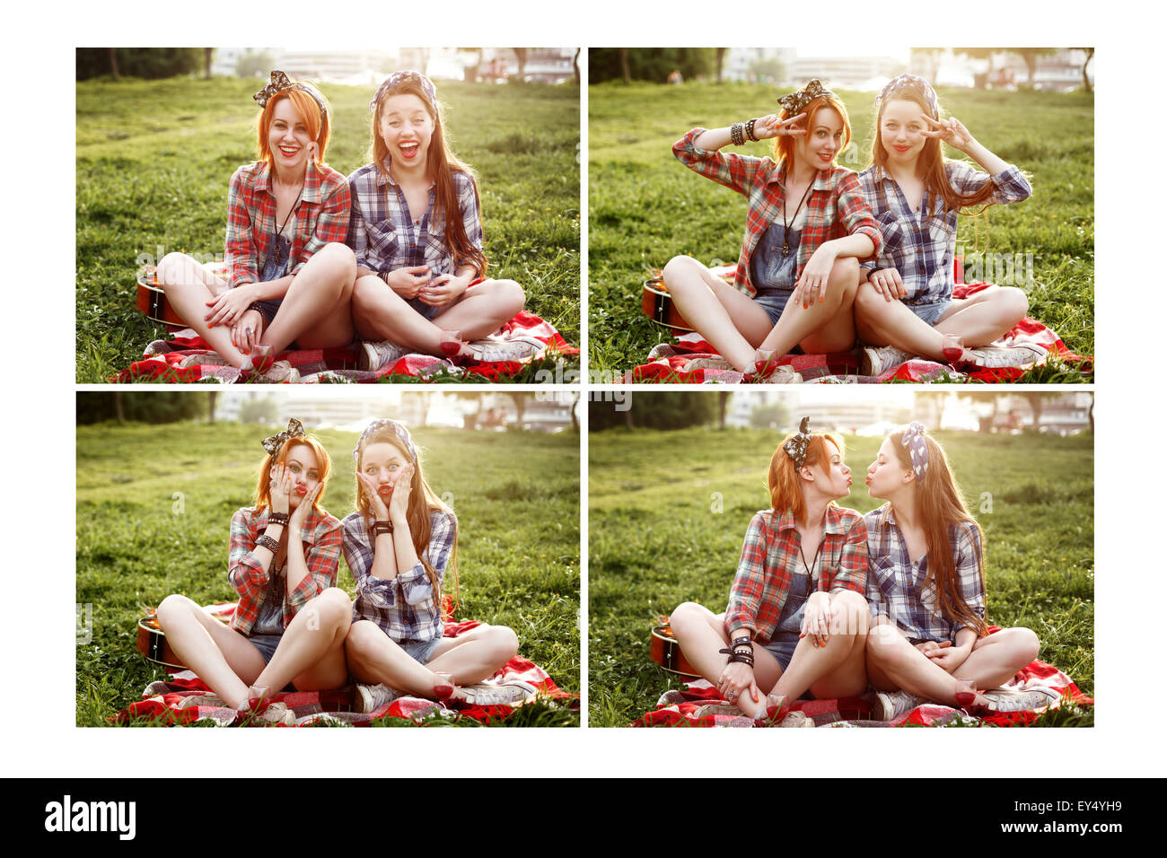 Set of four Images of Two Young Beautiful Women Resting and Having Fun in the Summer Sunset Park. Best Friends or - Stock Image