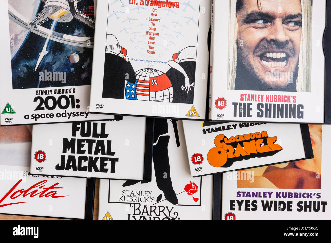 Array of Stanley Kubrick films on DVD showing covers and titles - Stock Image
