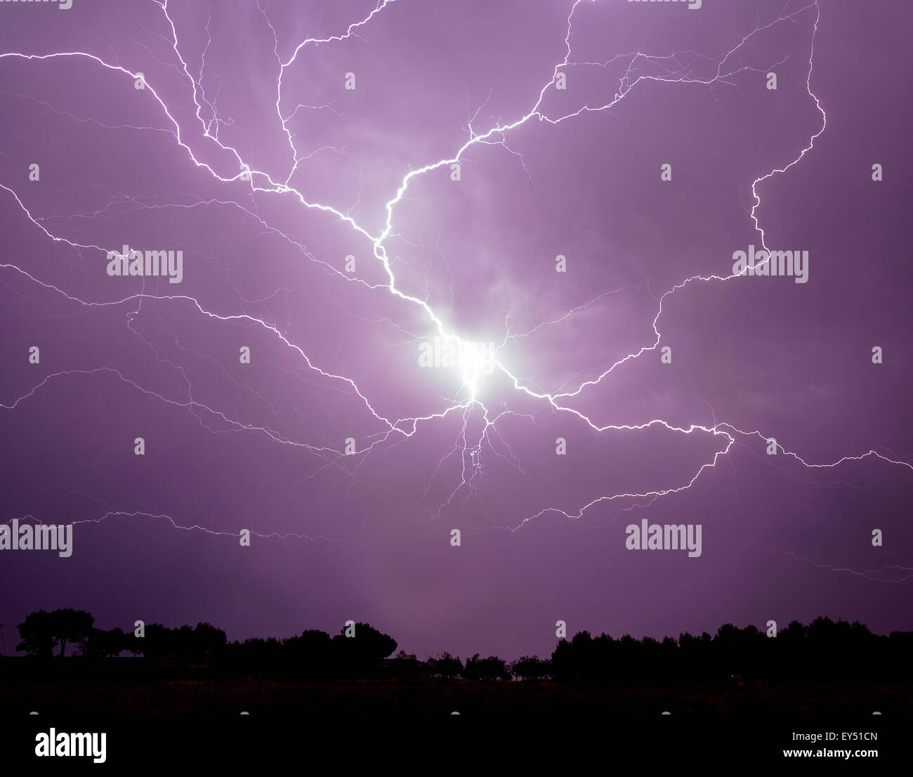 Lightning on sky. Severe storm. Alfaro (La Rioja) Spain. Europe - Stock Image