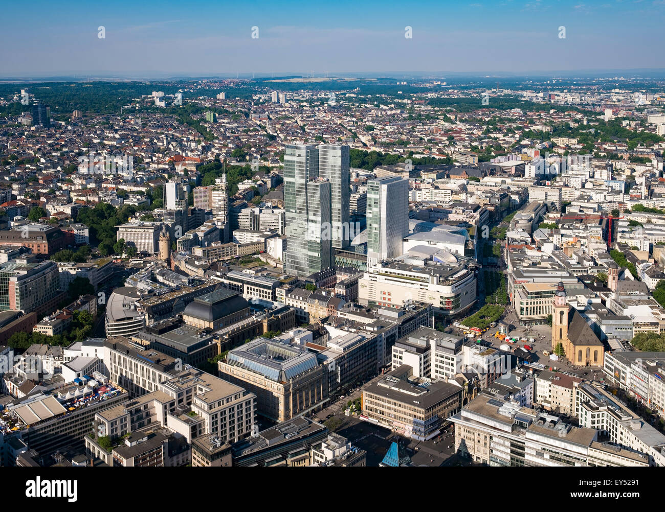Palais Quartier and Zeil, city centre, view from the Main Tower, Frankfurt am Main, Hesse, Germany - Stock Image