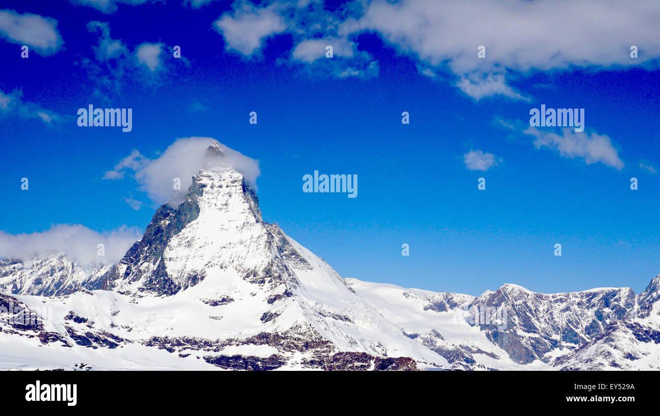 View of Matterhorn on a clear sunny day, Zermatt, Switzerland - Stock Image