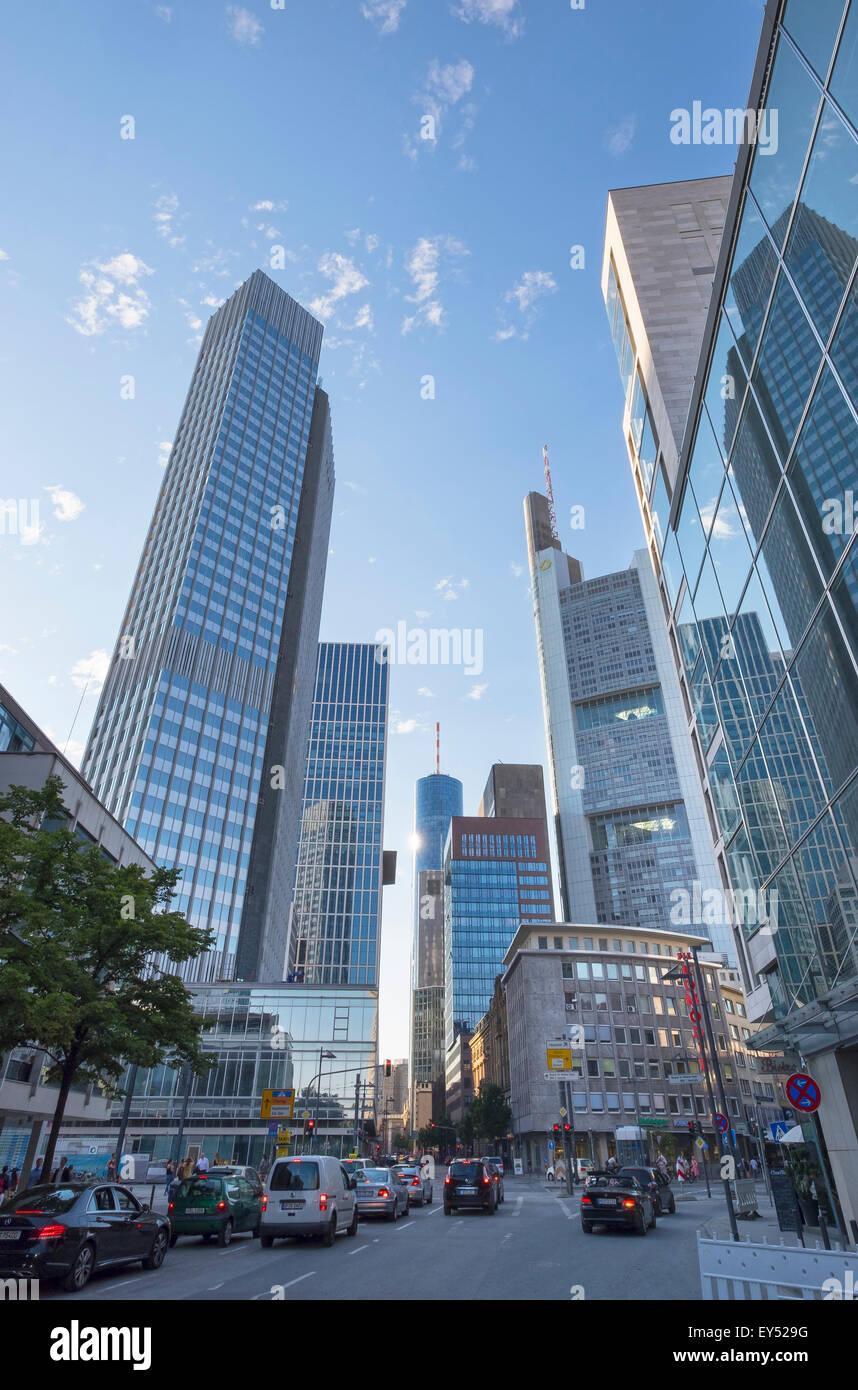 Neue Mainzer Straße street with Eurotower on the left, Financial District, Frankfurt am Main, Hesse, Germany Stock Photo