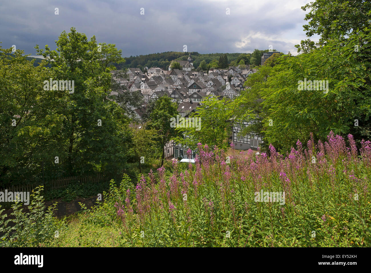 Views of the 'Alter Flecken', Freudenberg's historic core with half-timbered houses from the 17th century, - Stock Image