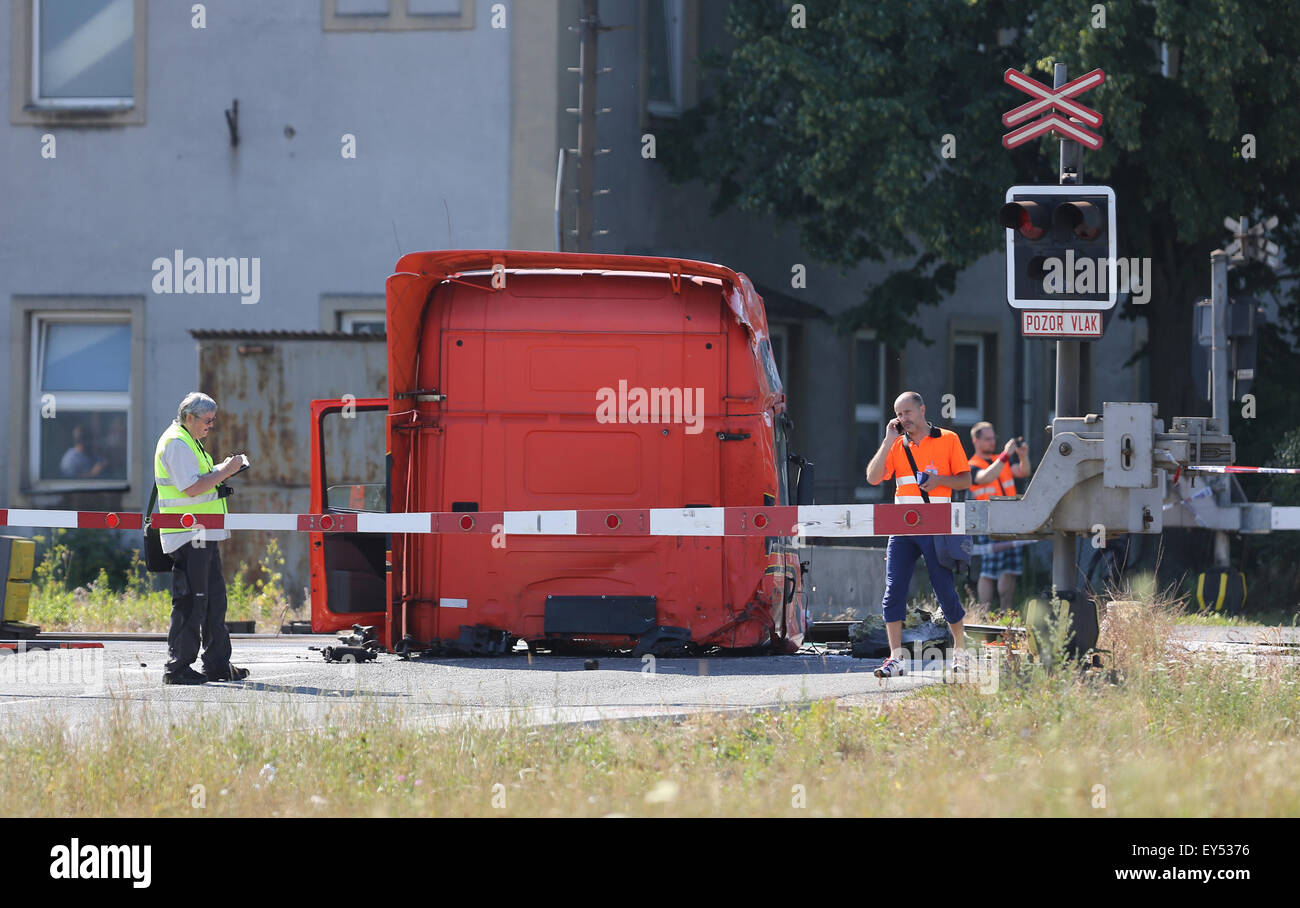 Studenka, Moravia, Czech Republic. 22nd July, 2015. Two people died in a collision between a Pendolino train and - Stock Image