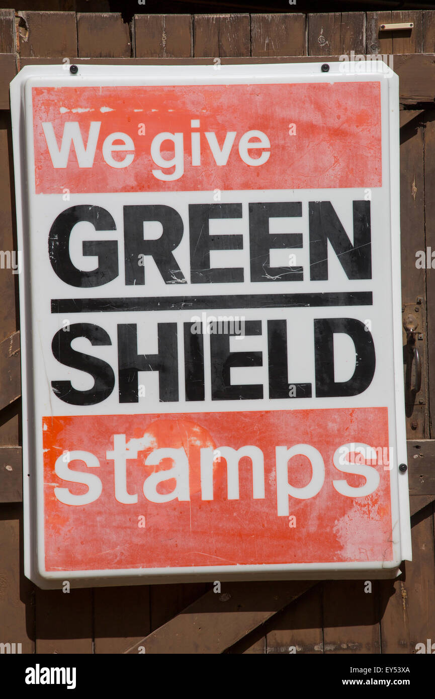 Green Shield Stamps old sign, UK - Stock Image