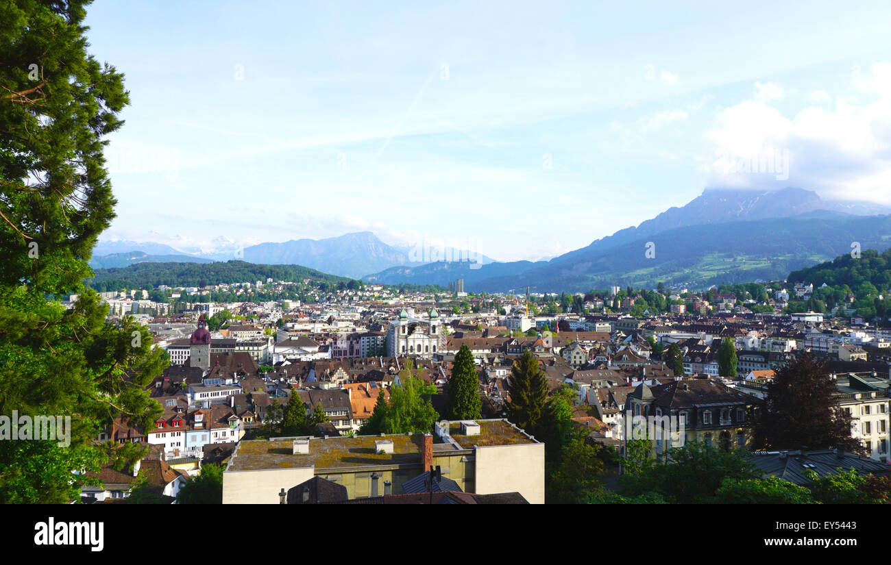 Viewpoints from historical castle in Lucerne, Switzerland - Stock Image