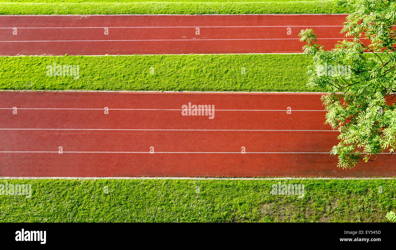 Running Track field and grass - Stock Image