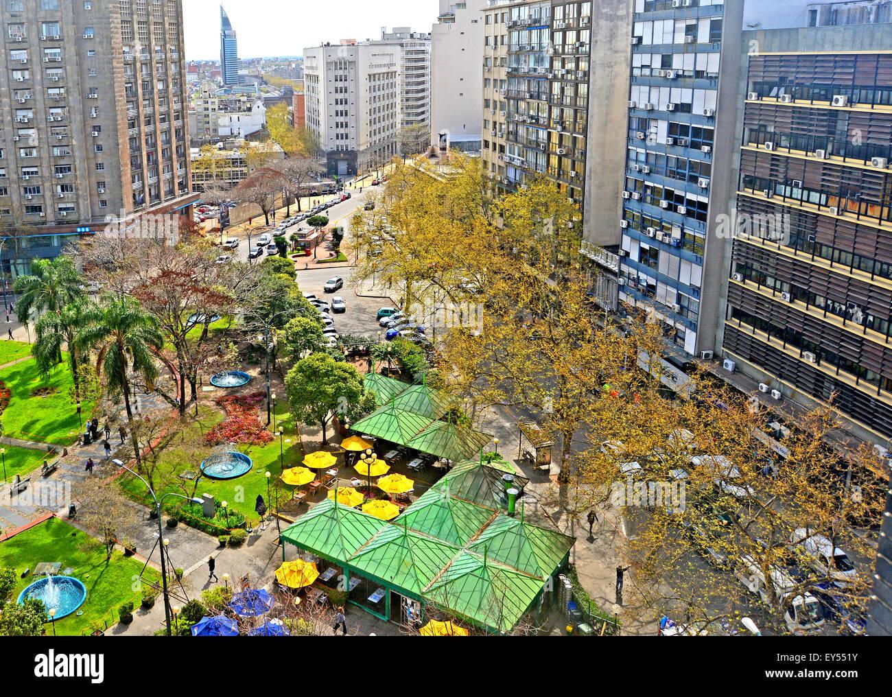 aerial view on Plaza Fabini Montevideo Uruguay Stock Photo