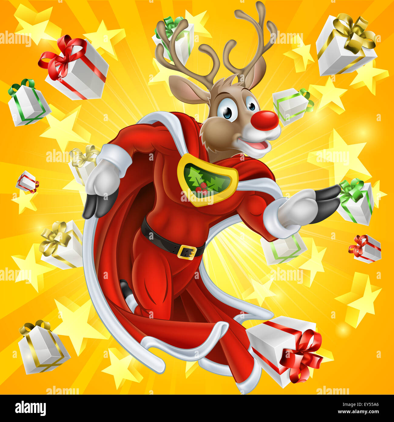 A cute cartoon superhero Christmas Reindeer character running with stars and Chrismas gifts or presents in the background - Stock Image