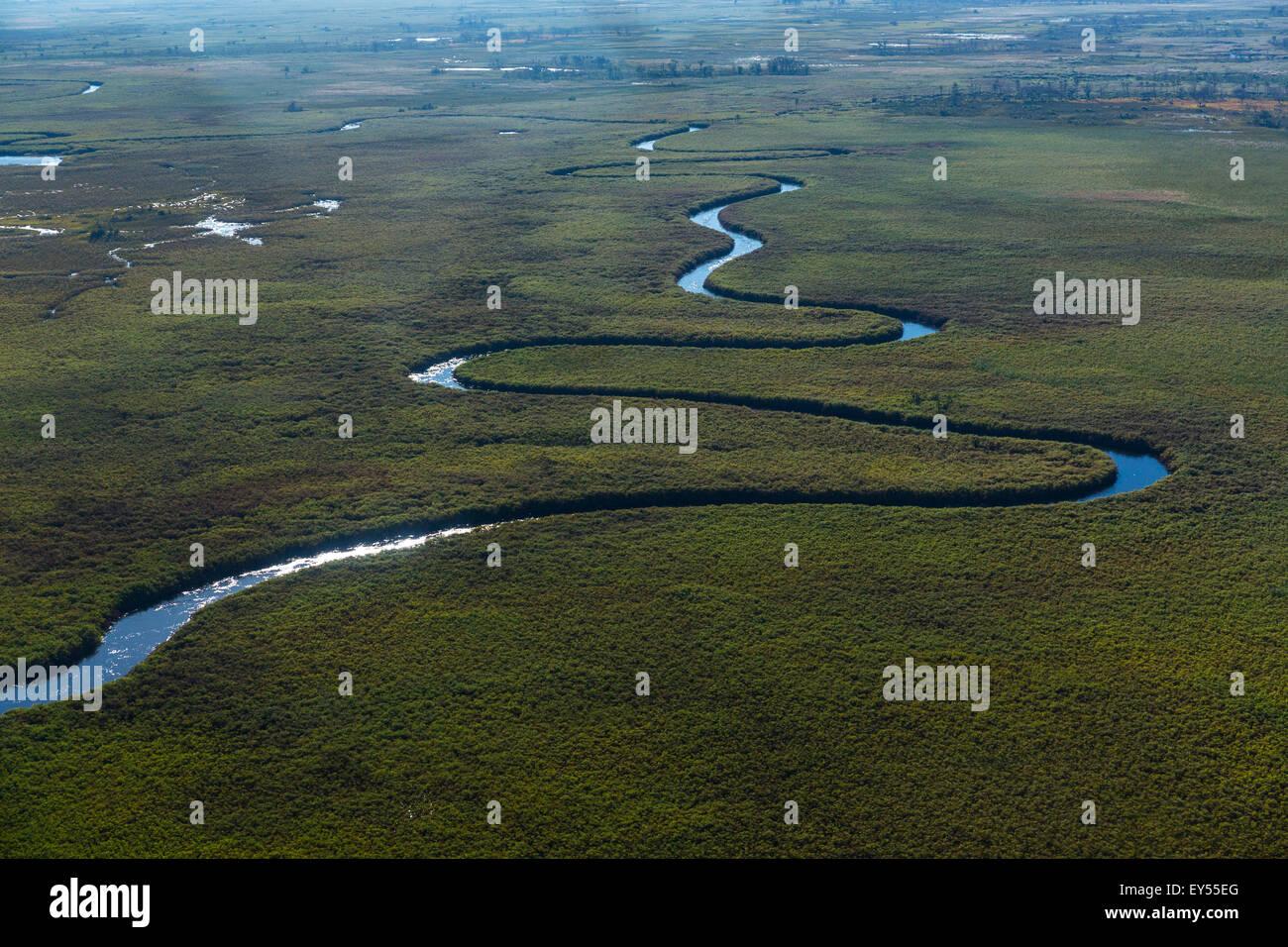 Aerial view of the Okavango Delta - Botswana - Stock Image