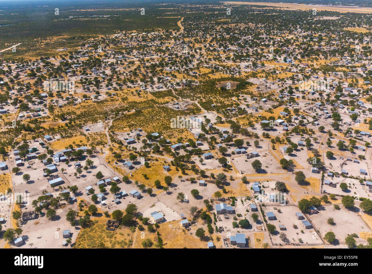 Aerial view of Maun city - Okavango Delta Botswana - Stock Image