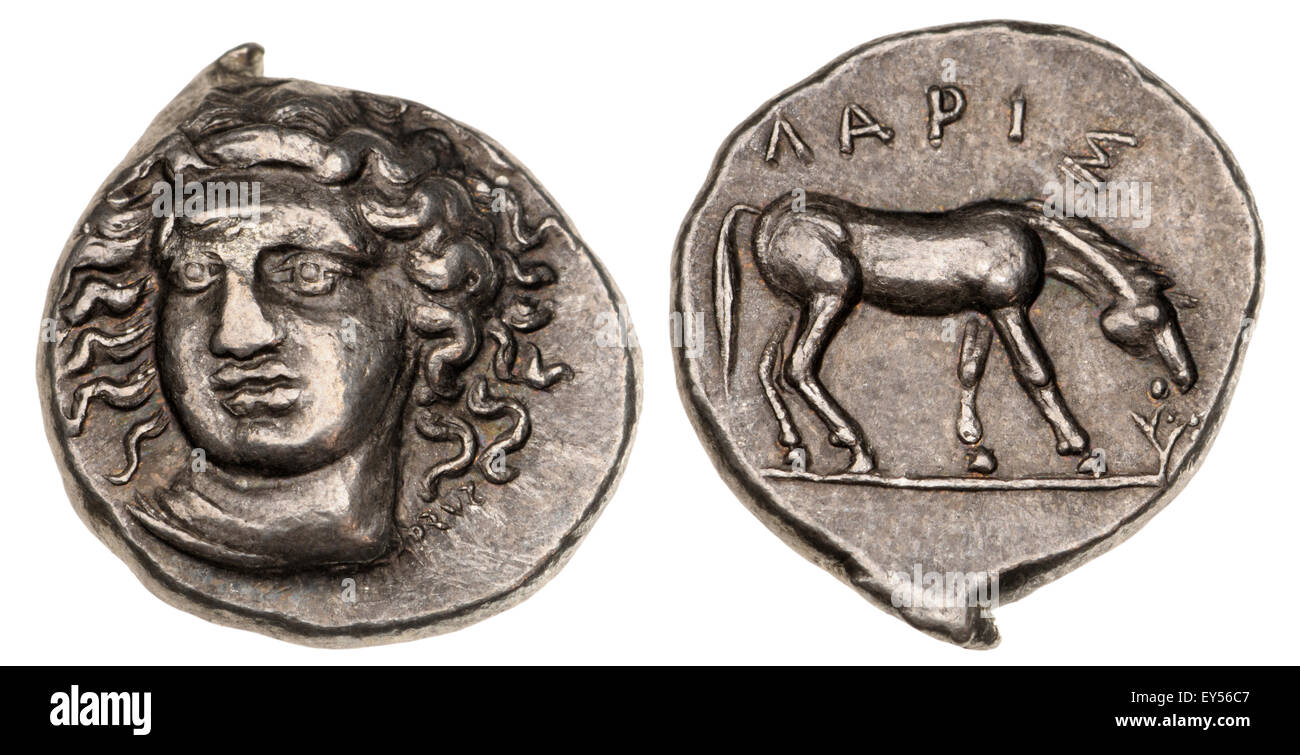 Ancient Greek coin (replica) Thessaly, LARISSA - AR Drachm;  Obv: Nymph Larissa facing slightly to right . Rev: - Stock Image