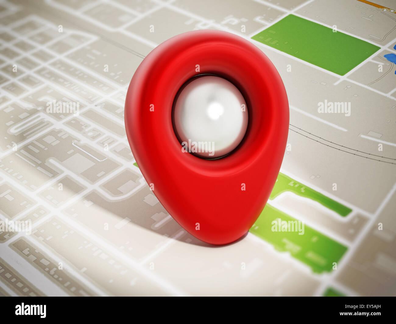 Red marker on navigation map. - Stock Image