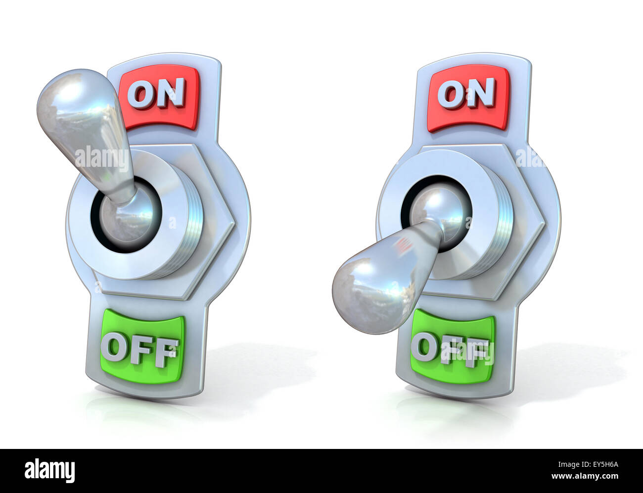On and off metal toggle switches. 3D render illustration isolated on white background. - Stock Image