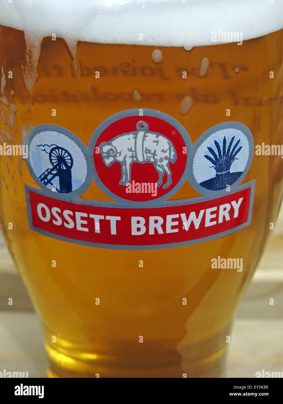 Glass of beer from the Ossett Brewery, Wakefield,Yorkshire,England,UK - Stock Image
