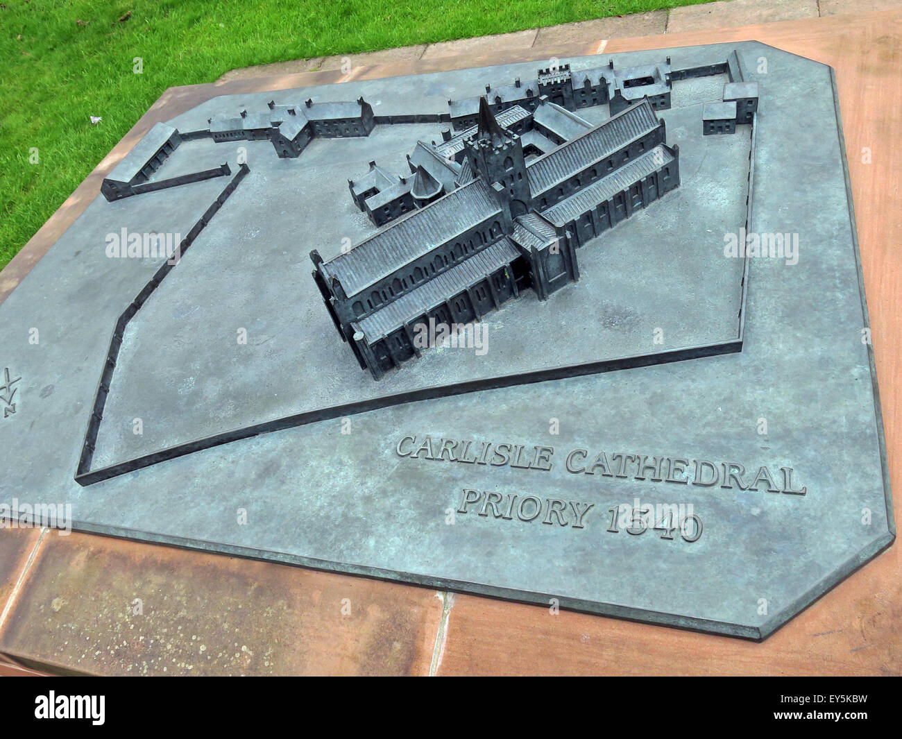 Bronze Model of Carlisle Cathedral, Cumbria, England, UK - Stock Image