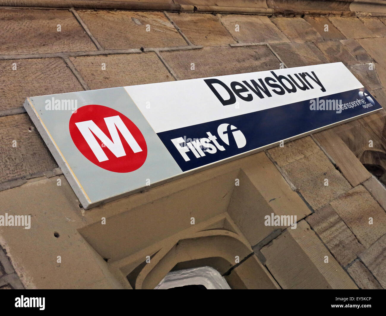 Dewsbury Railway Station Sign, Kirklees, Huddersfield,West Yorkshire,England,UK - Stock Image