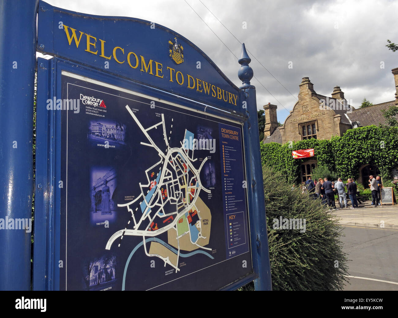 Blue Welcome to Dewsbury Sign,Kirklees,West Yorkshire,England,UK - Stock Image