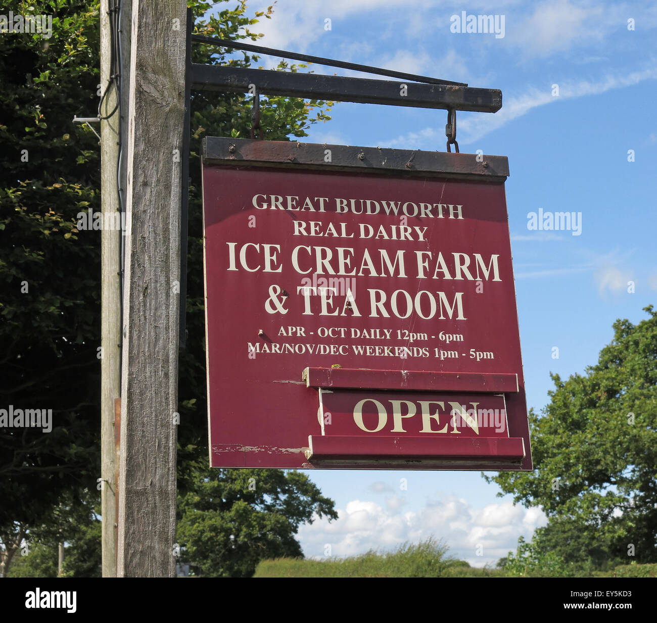Cheshire Ice Cream Farm and Tea Room Open Sign Stock Photo