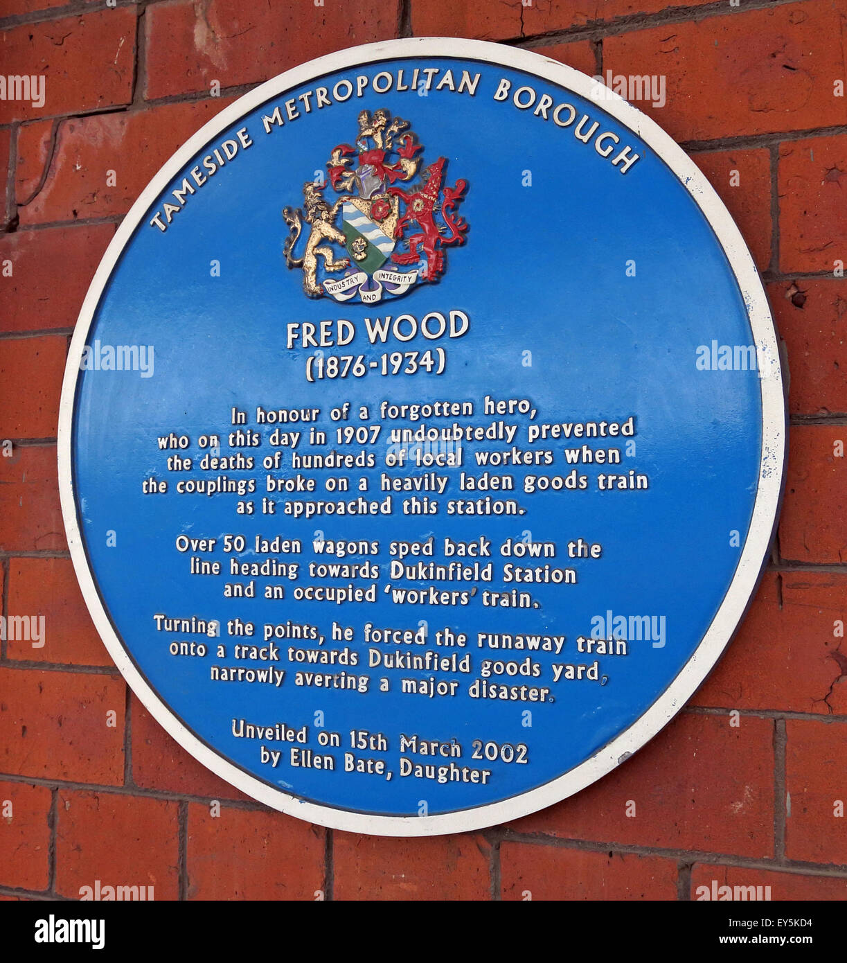 Fred Wood Tameside Blue Plaque,Stalybridge Railway station, Lancashire, England, UK - Stock Image