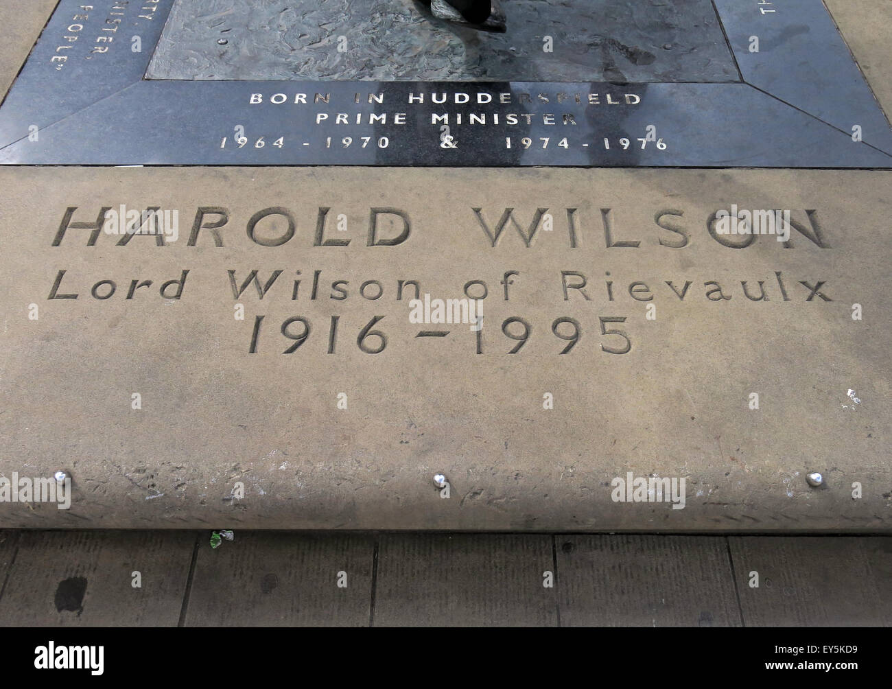Lord Harold Wilson of Rievaulx 1916-1995 statue inscription, Huddersfield, West Yorks, England, UK - Stock Image