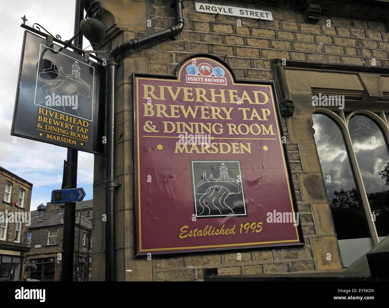 Riverhead Brewery Pub Marsden, West Yorkshire, England, Uk on the CAMRA aletrain route - Stock Image