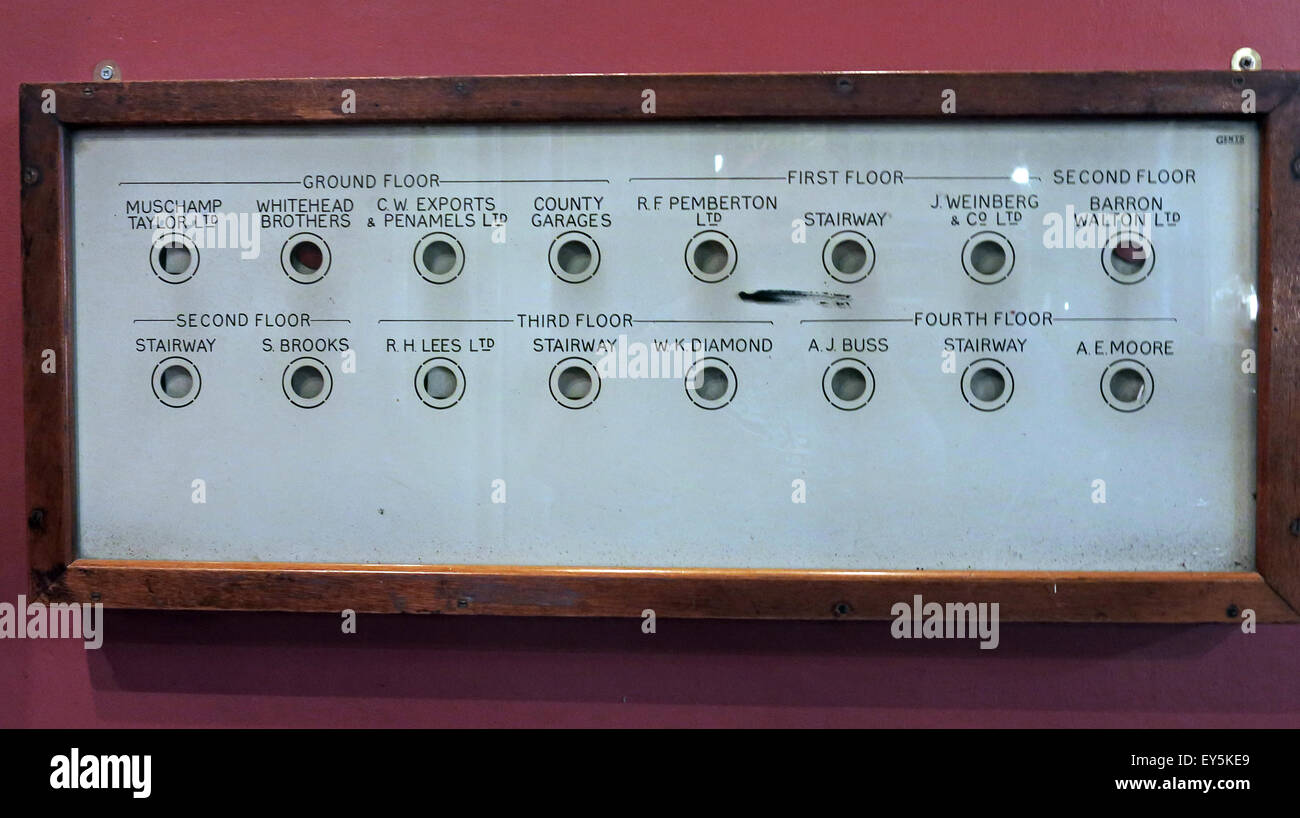 Internal company telephone call system panel at Stalybridge Station Buffet Bar, Tameside, Manchester, England, UK - Stock Image