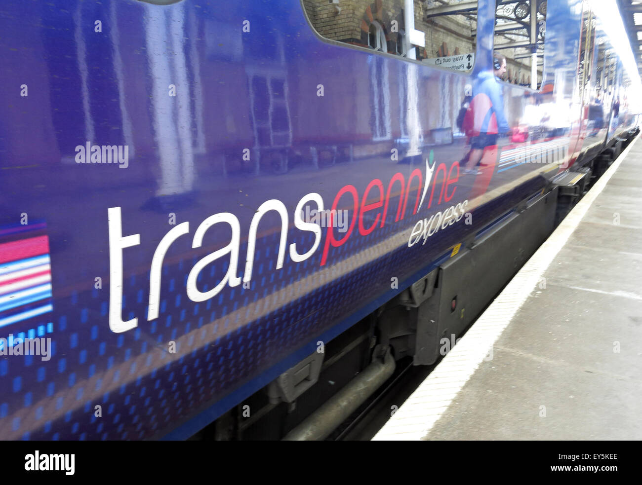 Transpennine train carriage at platform, Warrington Central station, Cheshire,England UK - Stock Image