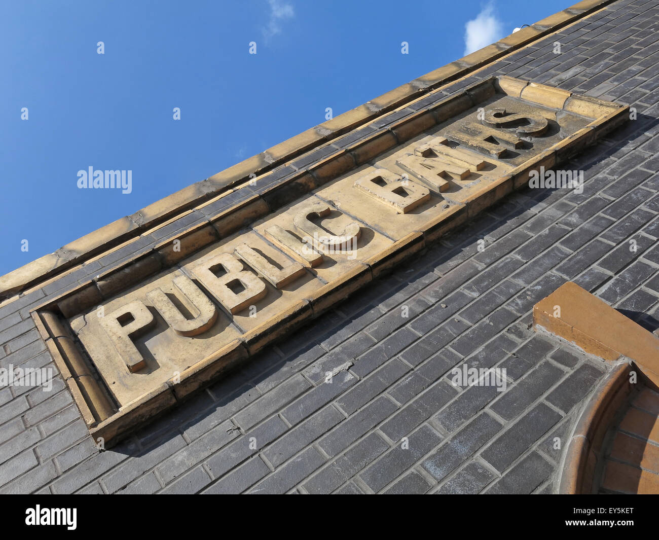 Warrington Public Baths Sign,Cheshire,England,UK - Stock Image