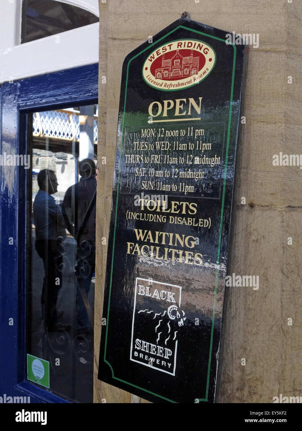 West Riding Pub, Dewsbury Railway Station, West Yorkshire, England, UK - sign outside - Stock Image