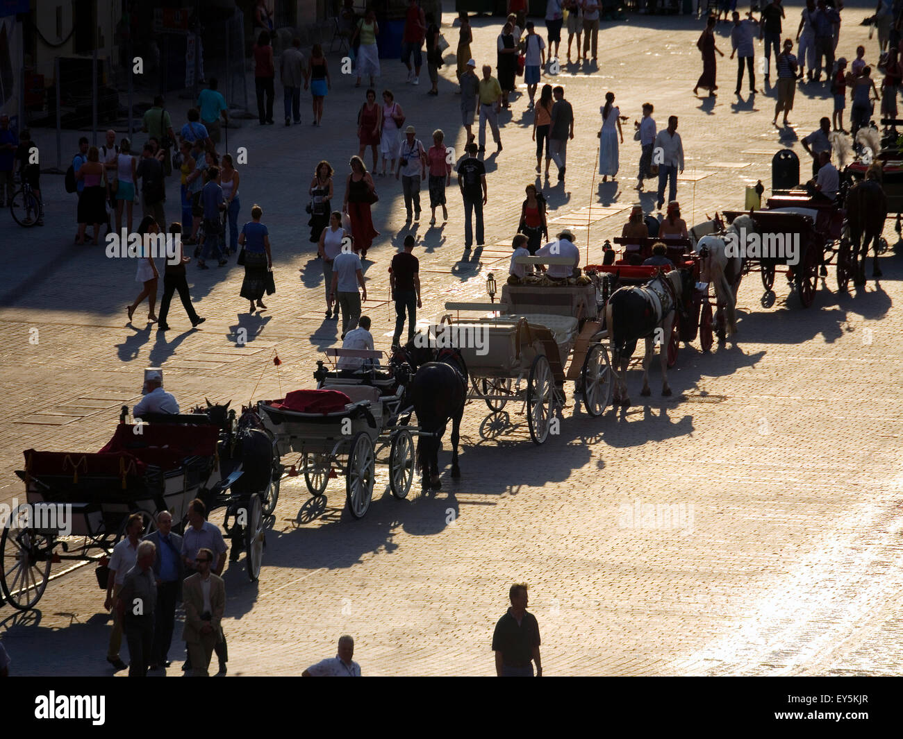 Poland Krakow, Main Market Square, carriages - Stock Image