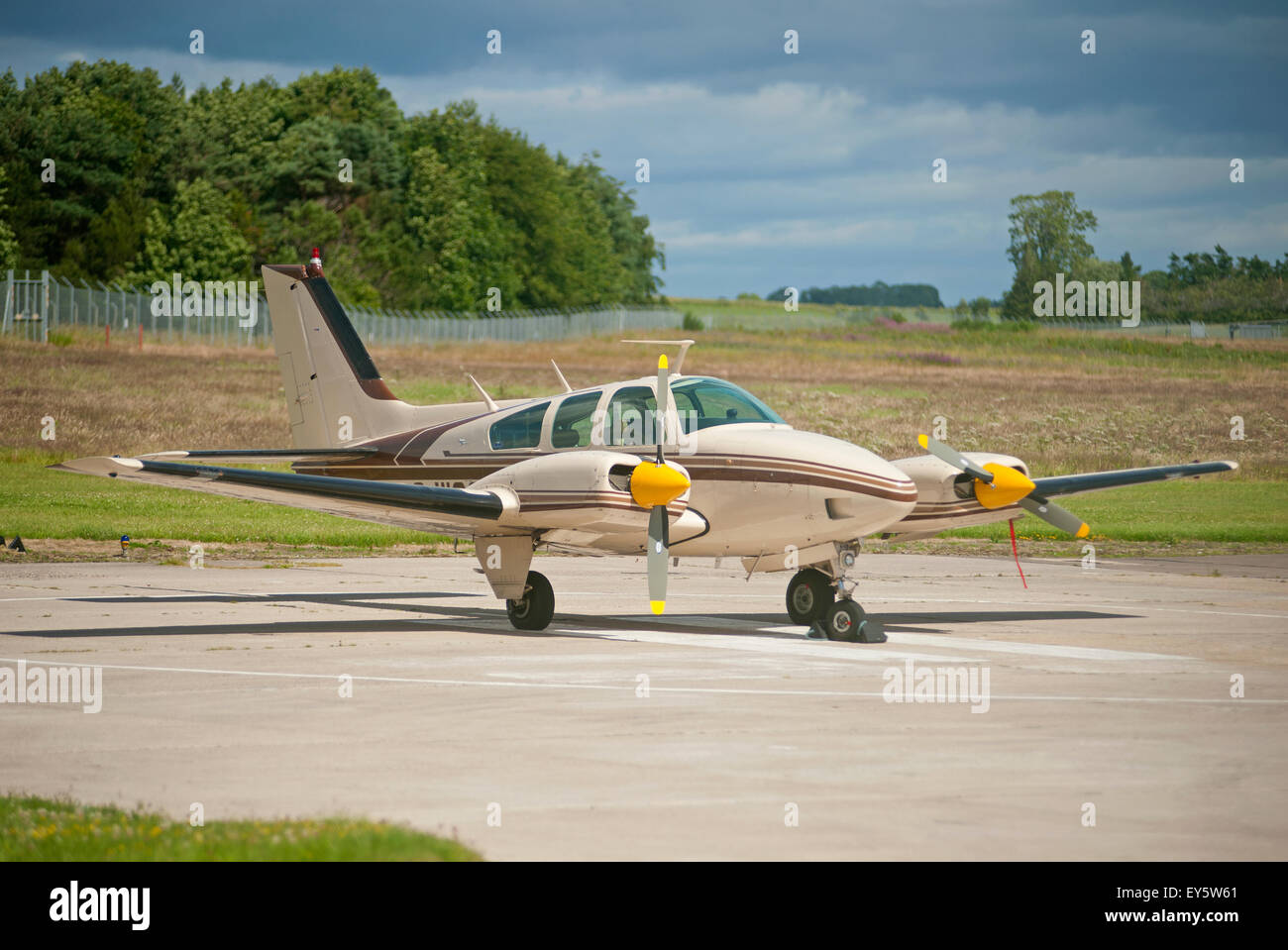 Civil Registered Aircraft operating through Inverness Dalcross Airport in Northern Scotland. - Stock Image