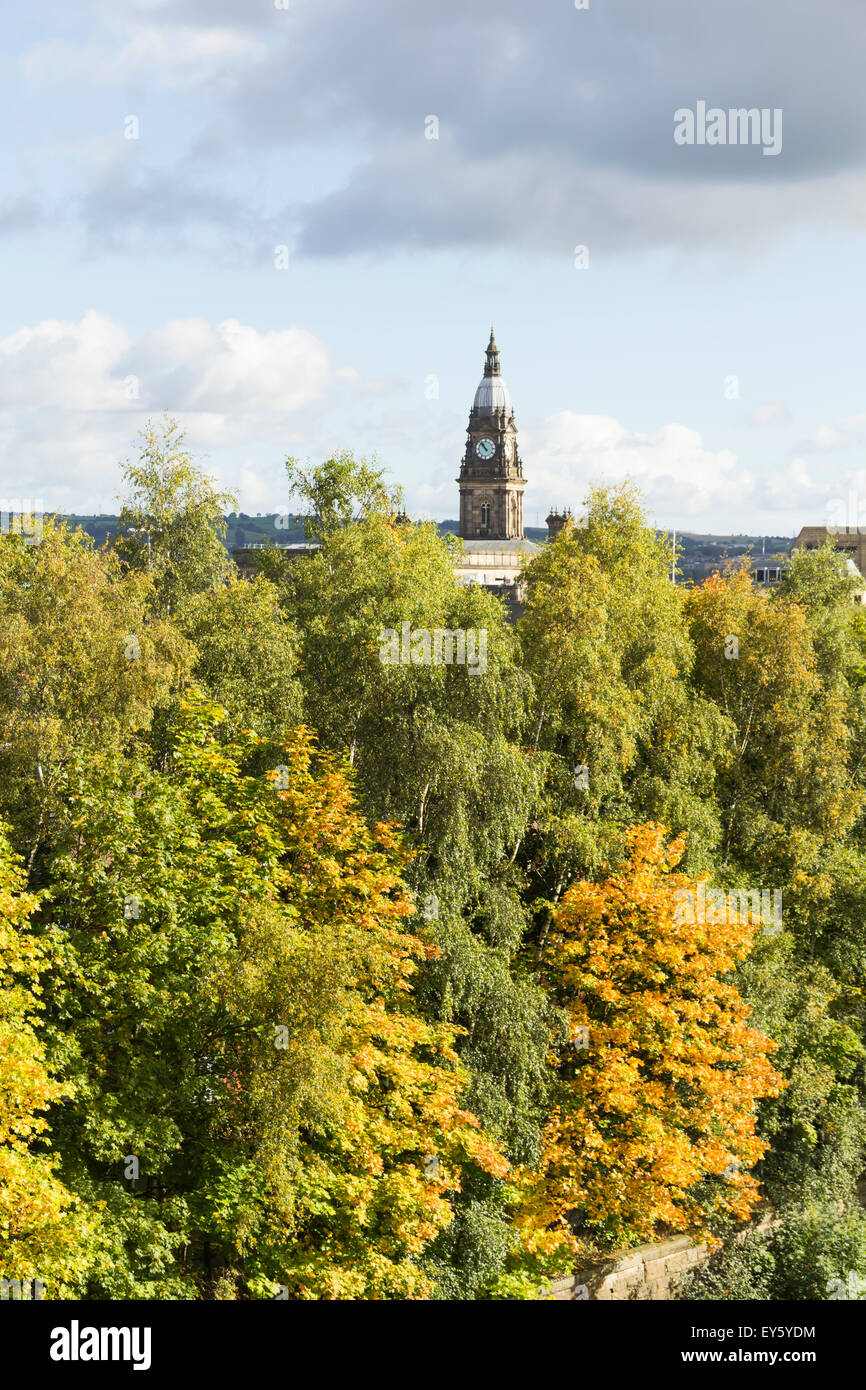 Bolton town centre skyline viewed from the south-west over the Moor Lane and the tall trees lining the Preston-Bolton - Stock Image