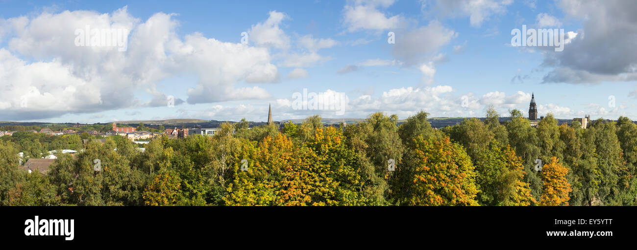 Panoramic view north over Bolton  towards Turton and Holcombe Moors. - Stock Image