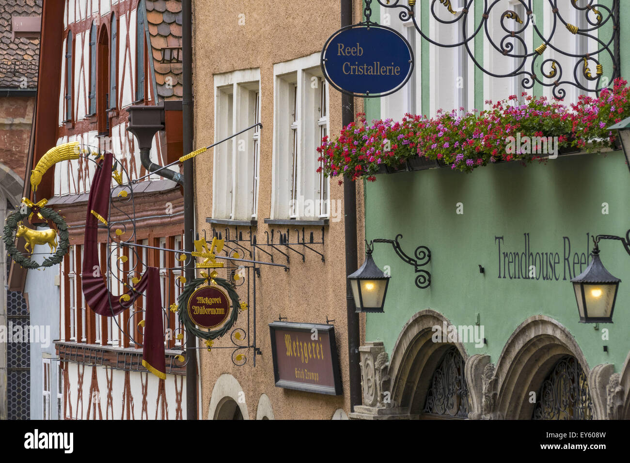 Typical, Hanging Signs, Signboards, Rothenburg ob der Tauber, Middle Franconia, Bavaria, Germany - Stock Image