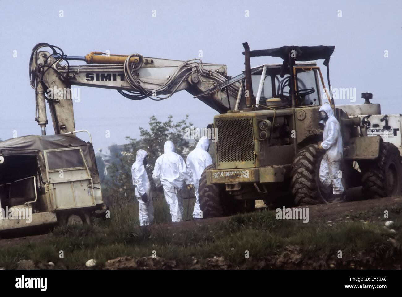 Ecological disaster of Seveso (Italy,1976), leak of dioxin from ICMESA  plant, works of decontamination of the polluted - Stock Image