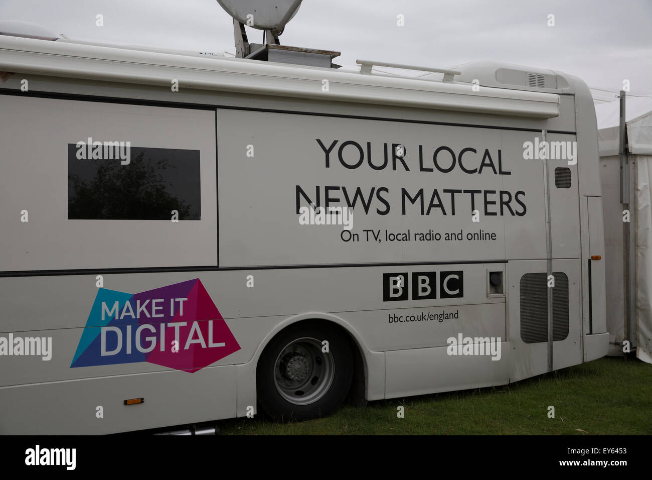 Knutsford, UK  22nd July, 2015  BBC news truck at the RHS