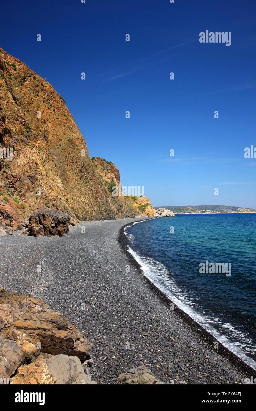 Mavra Volia beach, one of the most popular beaches of Chios island, Emboreios village. Northeast Aegean, Greece. - Stock Image
