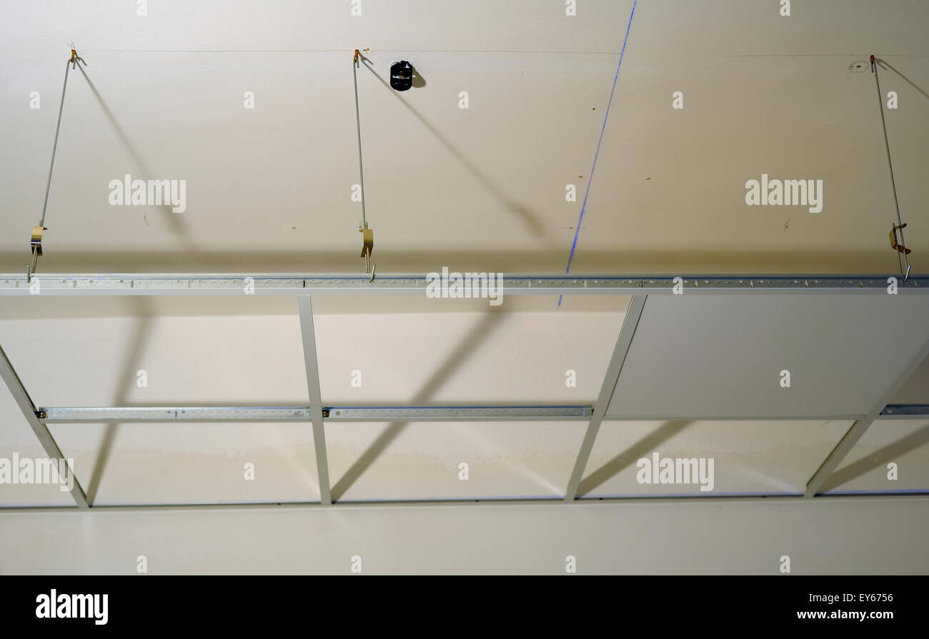 Gypsum Board Ceiling House Construction Stock Photos