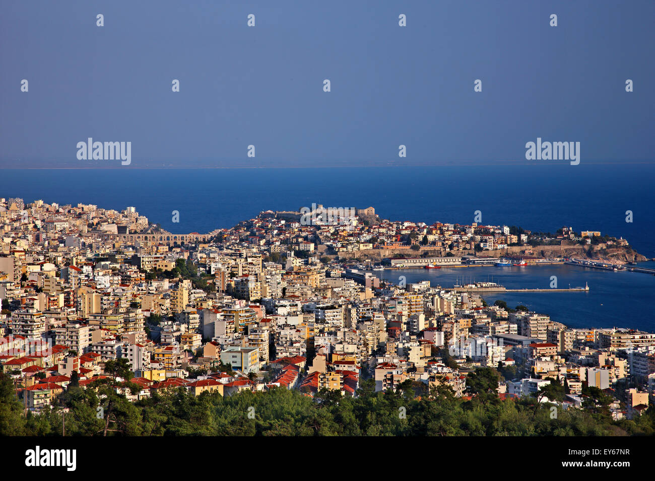 Panoramic view of Kavala city, Macedonia, Greece. You can see its port and the castle above the old part of the - Stock Image