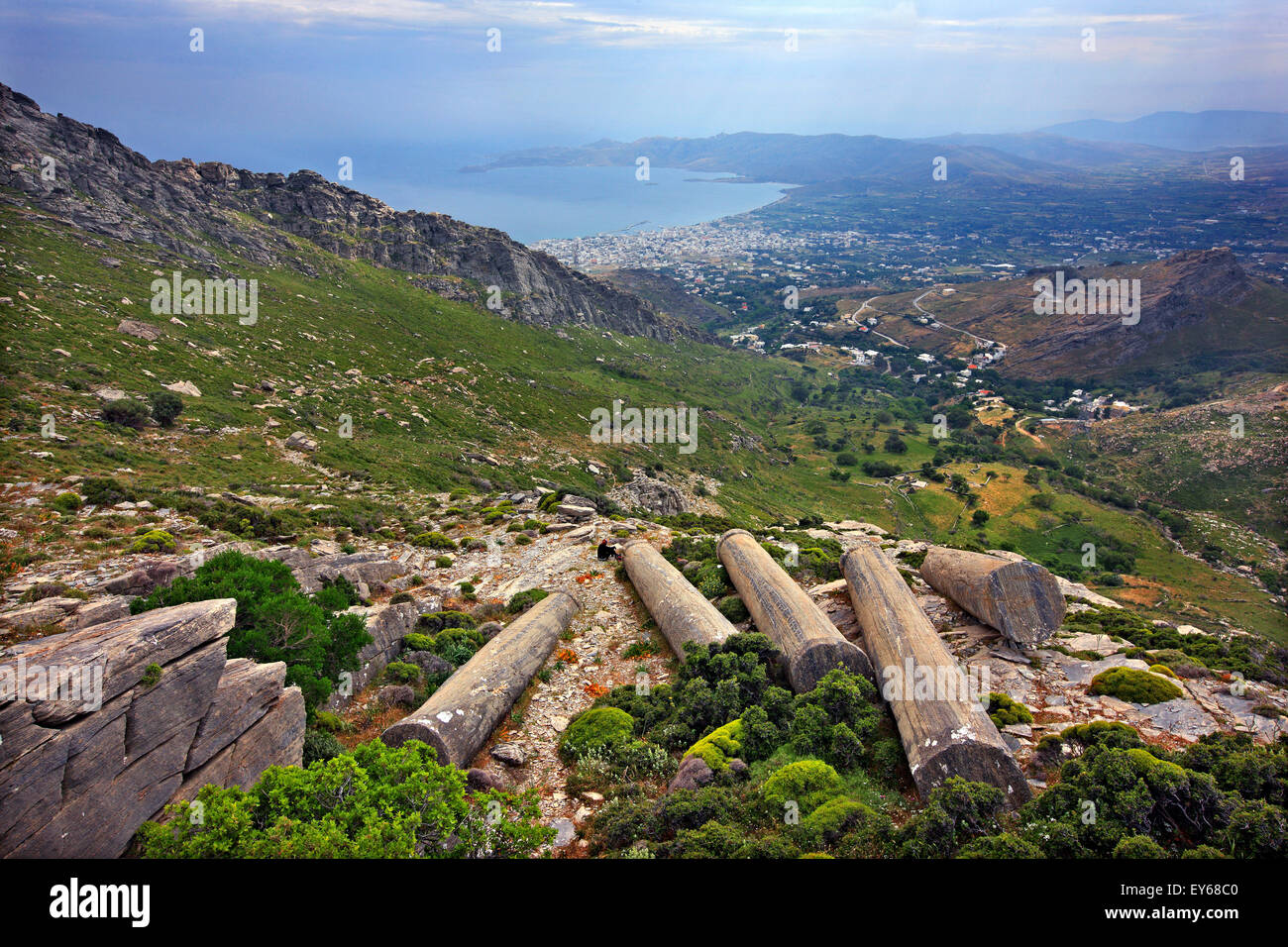 Forgotten ancient columns at an ancient quarry on the slopes of Mount Ochi ('Oche'), Evia ('Evvoia') - Stock Image