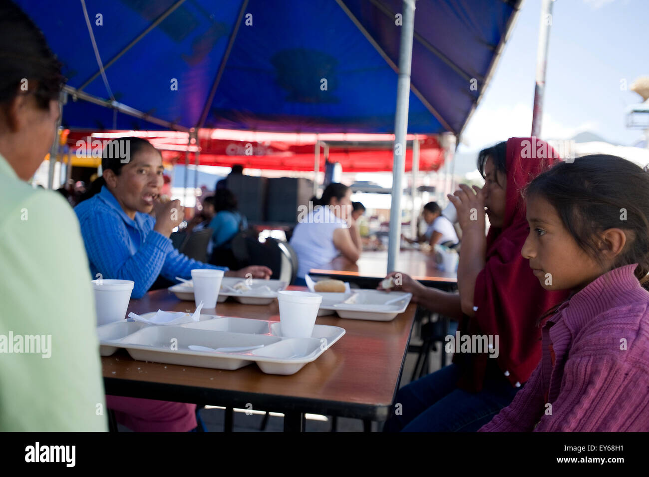Residents of San Marcos at government's emergency relief tent after a M7.4 earthquake struck western Guatemala - Stock Image